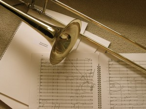 Trombone and sheets of music